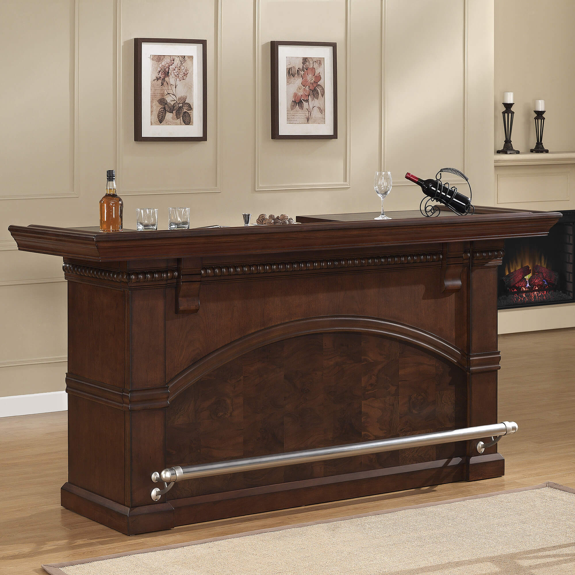 This is a beautiful home bar unit with sturdy foot railing, extensive storage including a wine rack and locking storage, and sturdy construction.