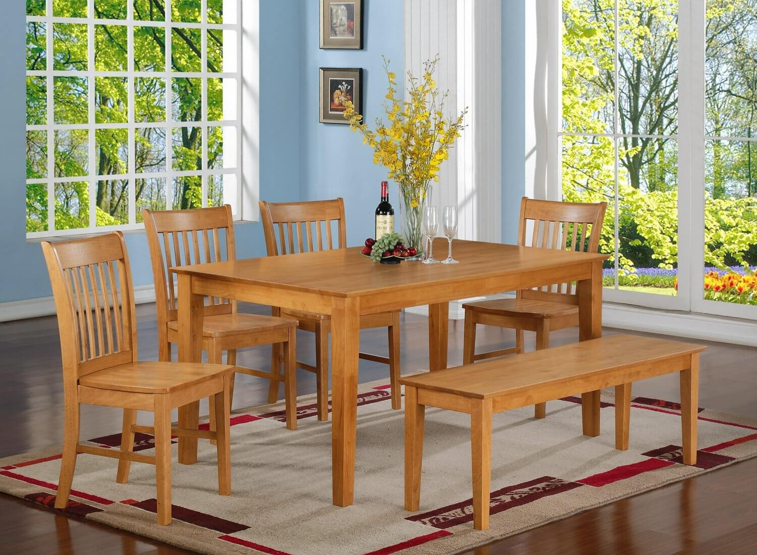 Oak finish six piece bench-style dining room set with large rectangle table. It's constructed out of 100% Asian solid wood (there is no veneer or MDF in this set).