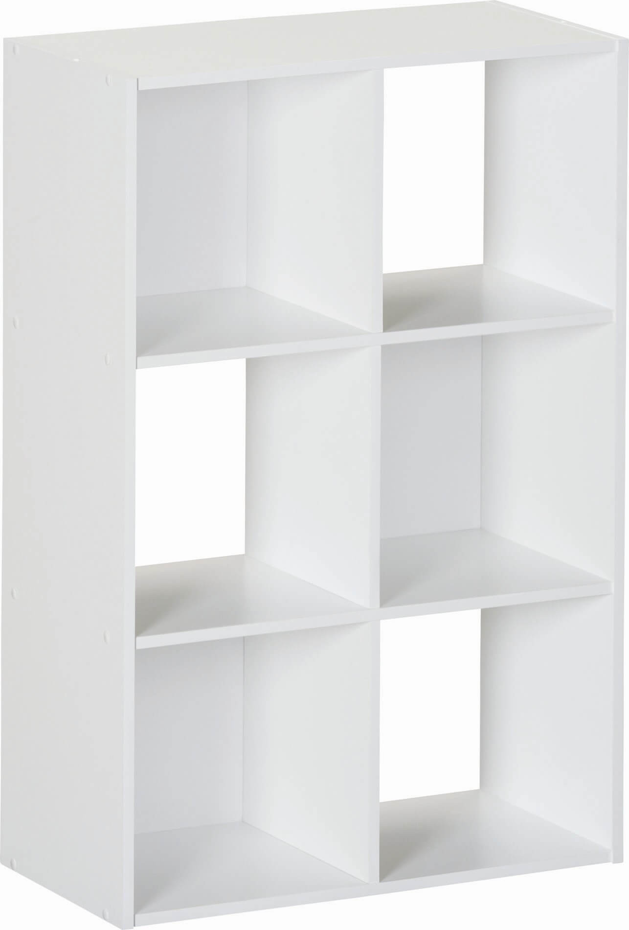 Here's a checkered-style 6-cube white shelf. The checkered backing pattern creates an interesting design (yet it's very simple).