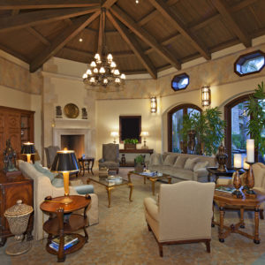 Living room with soaring all-wood ceiling