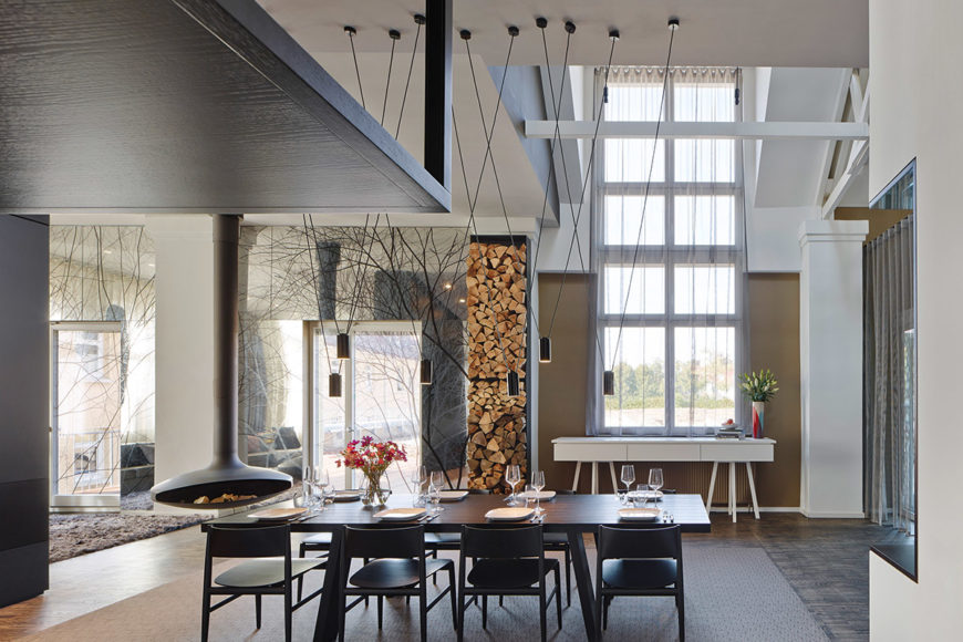 View of open concept space in loft designed by by Ippolito Fleitz Group