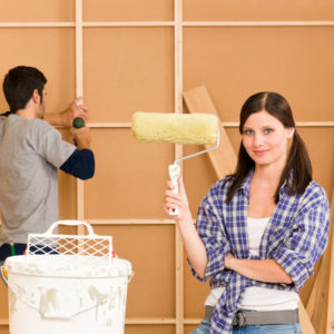 Couple renovating their home.