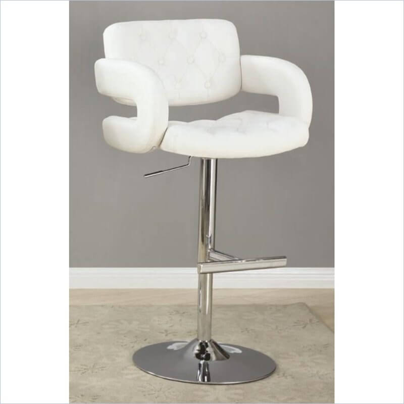 This is about as over-stuffed of a stool design you'll find in the modern stool style. The substantial stool arms give it an over-stuffed appearance along with the tufted back and seat.