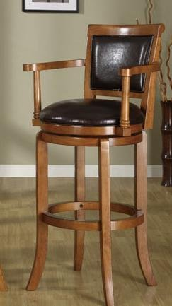 Sturdy wooden bar stool with arms and upholstered back and seat.