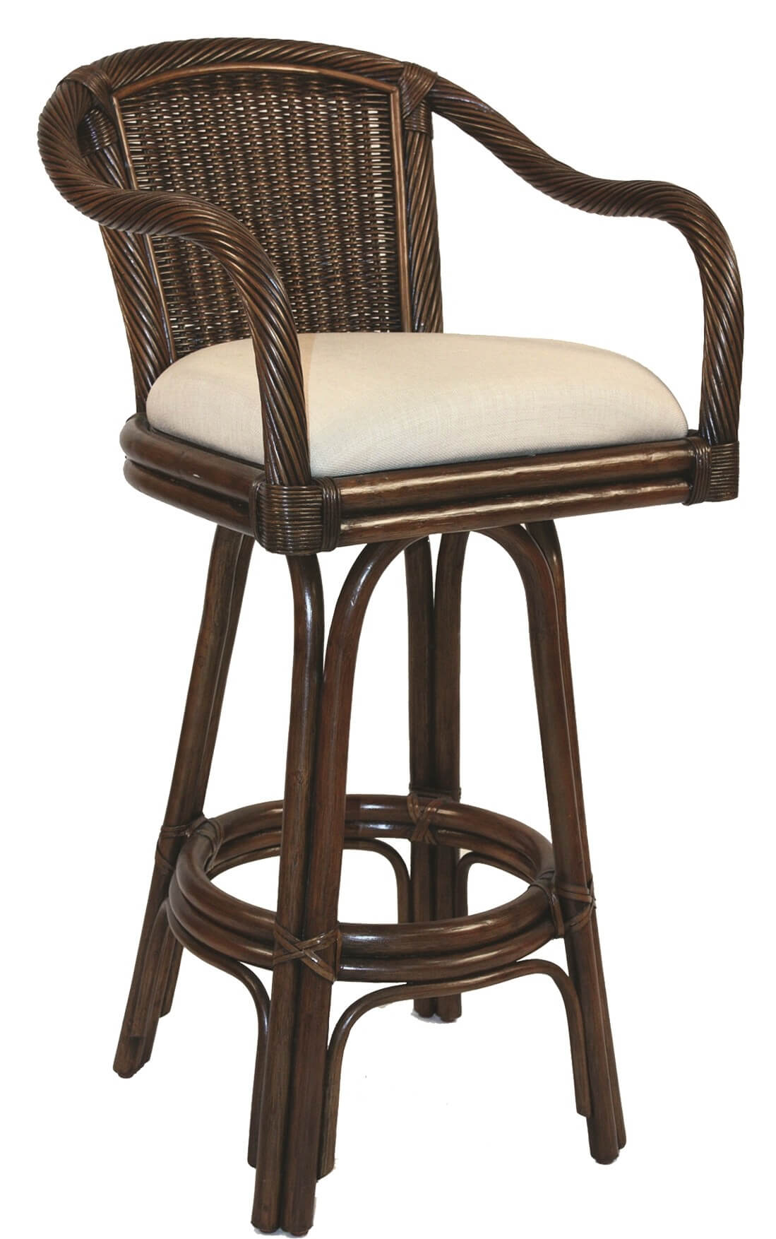 Coastal stool style with rattan back and arms.
