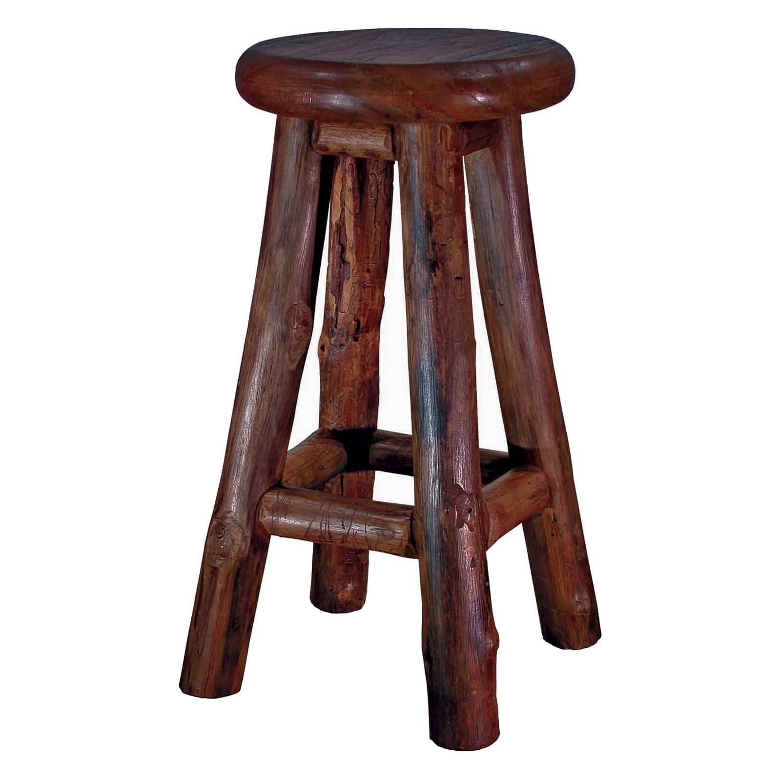 Rustic round backless stool.
