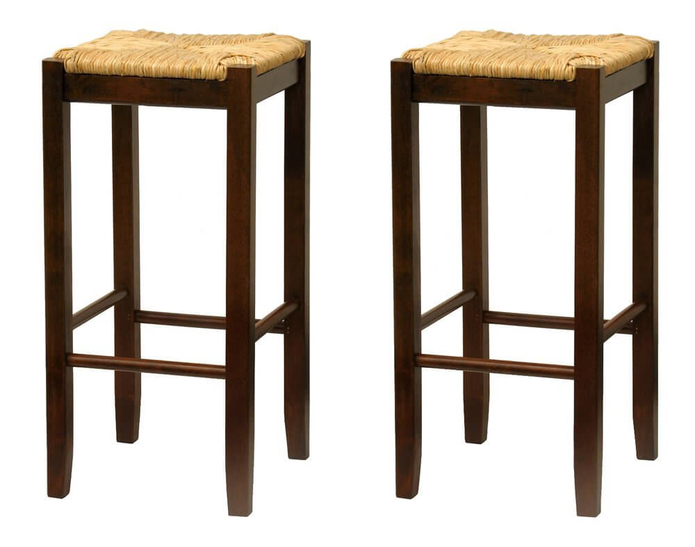 Pair of tiki style stools with wood frames and twine seats.