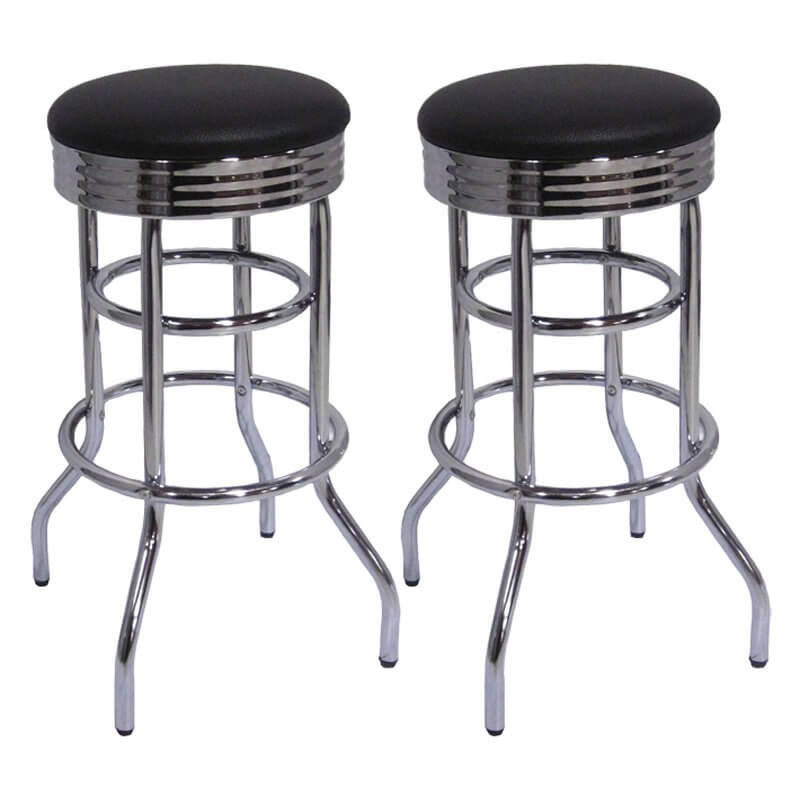 Pair of retro stools with chrome-finished frame and round, black seats.