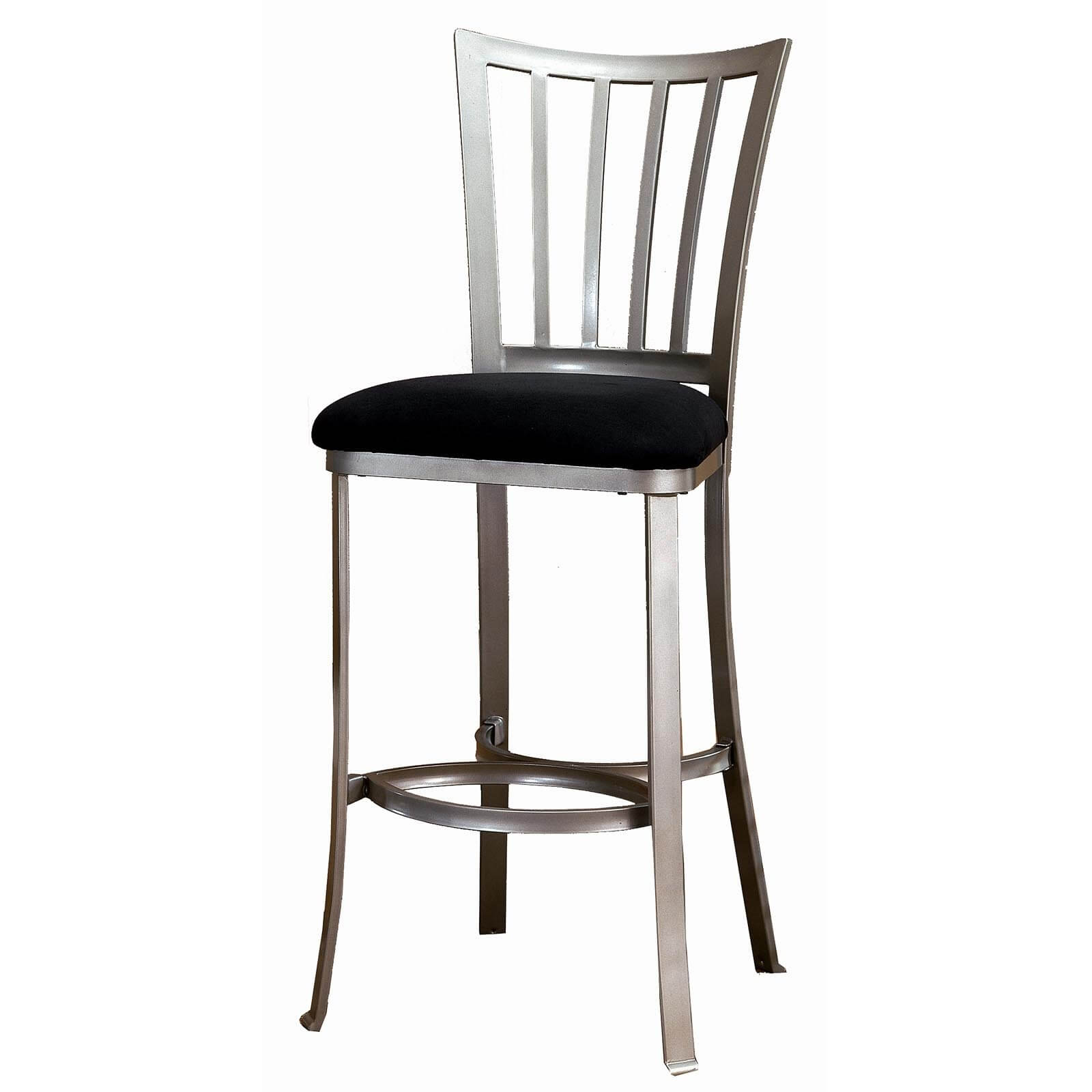 Metal framed armless stool with a metal back and cushioned seat.