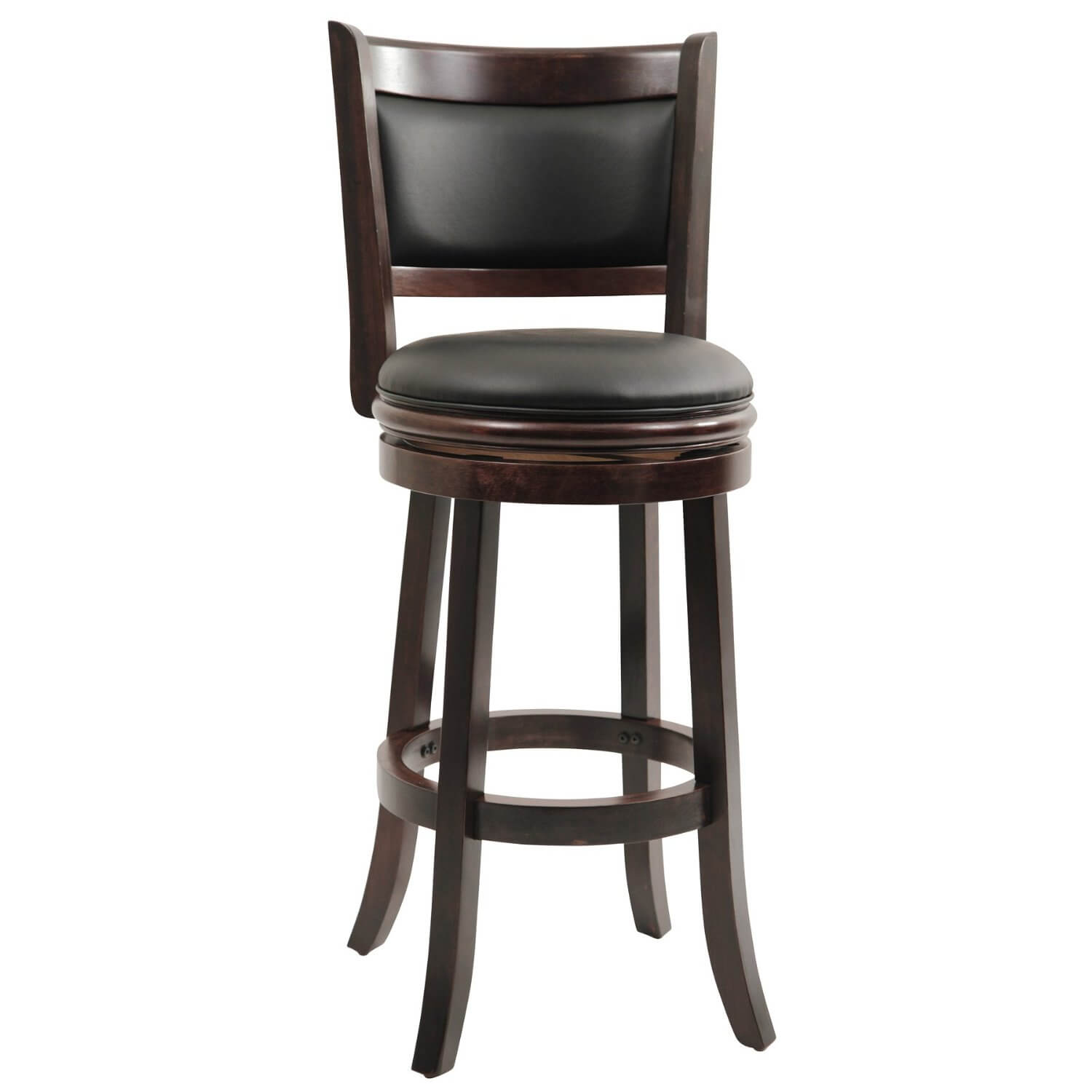 This is a 4-legged swivel stool with wood frame and upholstered seat and back.