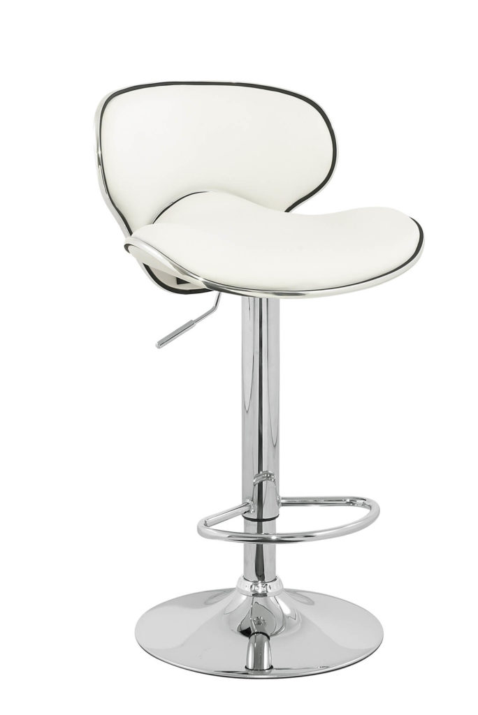 Modern white stool with chrome-finished pedestal base.
