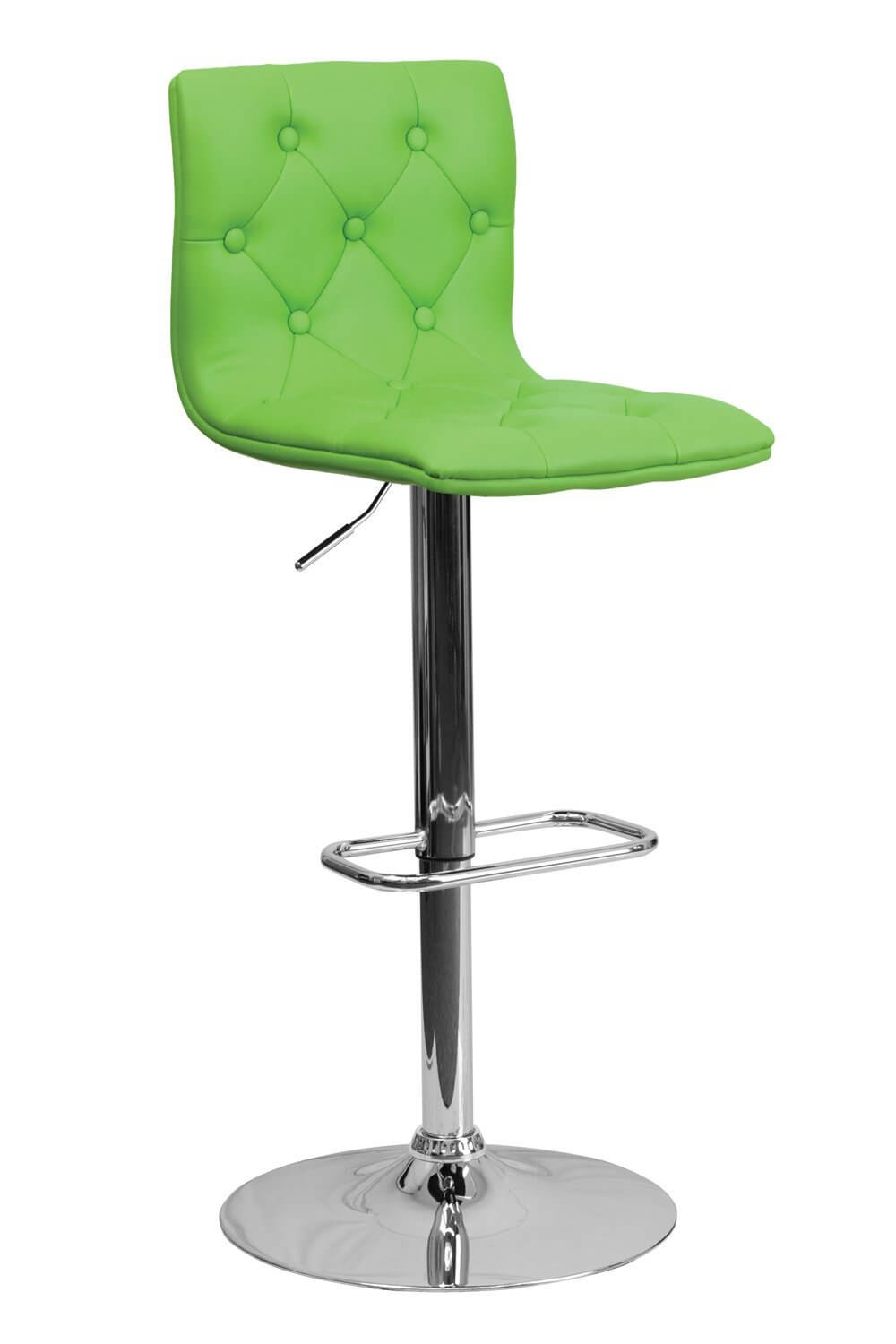 Modern green upholstered stool with chrome-finished pedestal base.