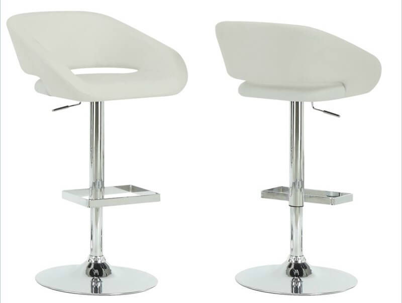 This faux leather and chrome modern stool is designed with a slight open back forming a bucket seat. The rounded lines are offset with a square foot rest.