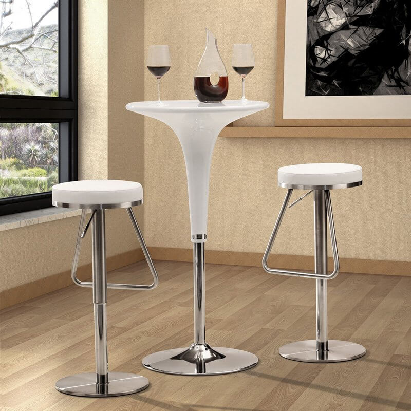 This chrome-base, simple round seat backless stool adjusts from 22 to 31 inches. It includes a foot rest. The round base echoes the round white leather upholstered seat.