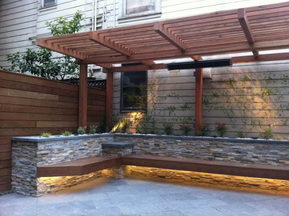Patio with built-in DIY bench.