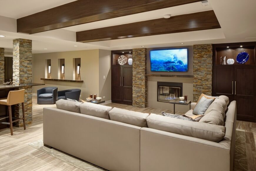 Custom rec room design by Drury Design