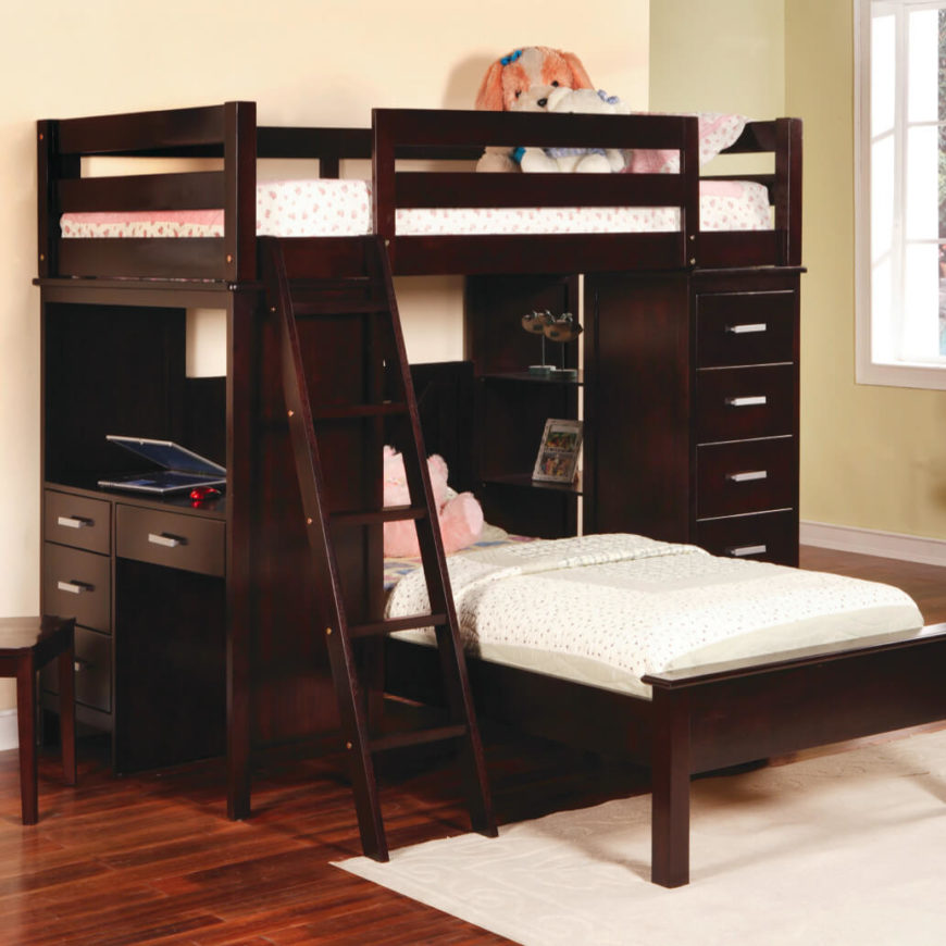 Offering the same amount of sleeping space in a novel configuration, the L-shaped bunk bed sets the lower bed at a right angle to the upper one. This takes up more floor space, but offers a sprawling, luxurious setting for those who have enough room.