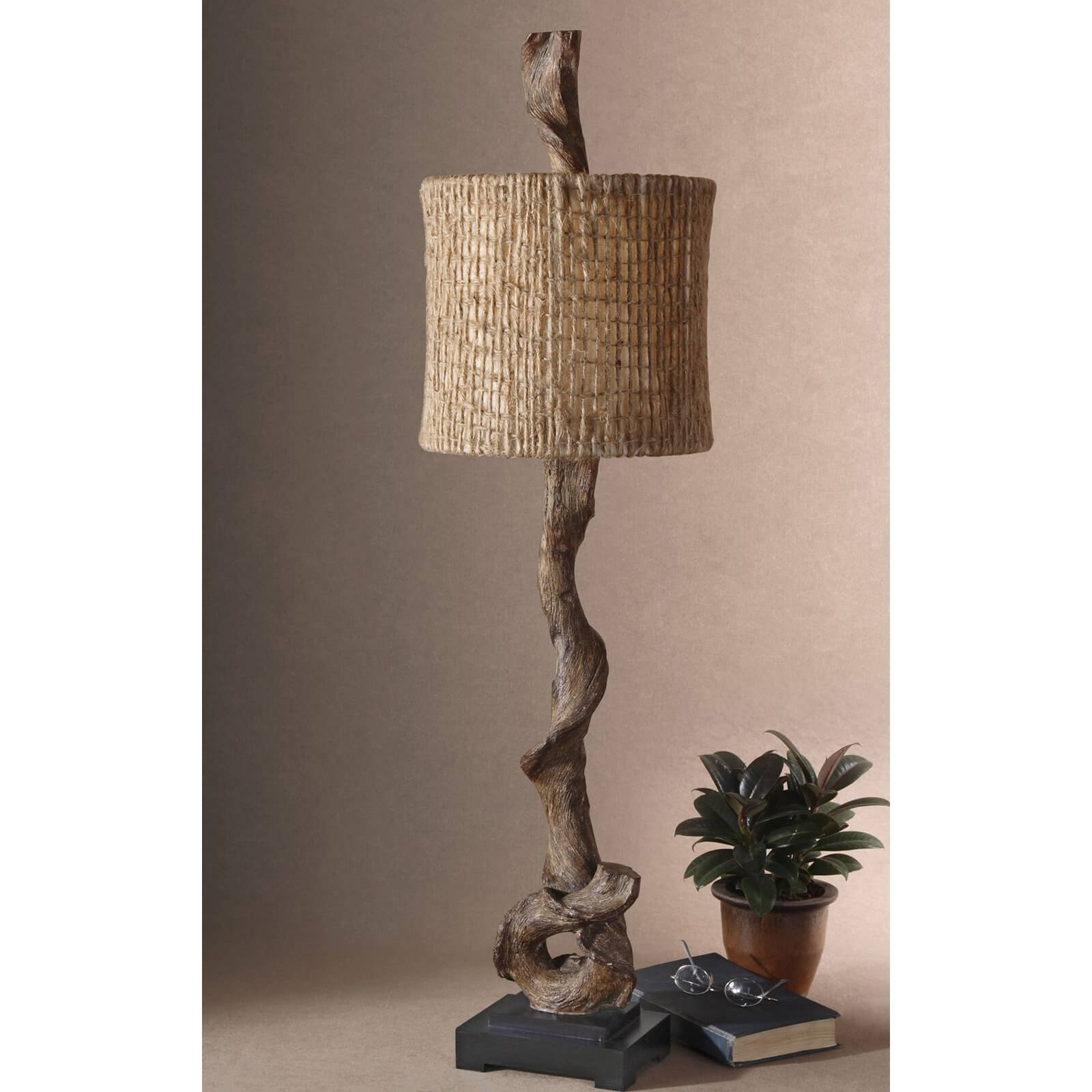 Our second buffet lamp is a unique piece done in a natural, rustic style, with the central shaft crafted from a twisted piece of wood.