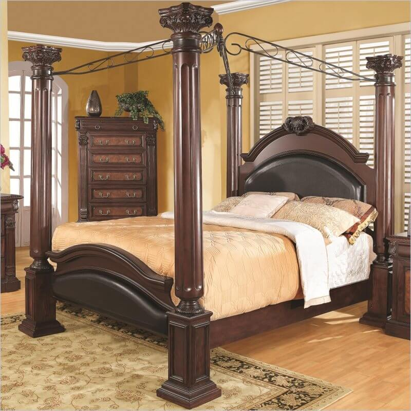 A canopy bed is a decorative bed style similar to the poster. A typical example features posts at each of the four corners extending far above the mattress. Ornate or decorative fabric is draped across the upper space between the posts, create a ceiling, or canopy, covering the bed space.