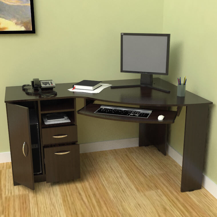 Corner desks can be a convenient solution to space problems in their compact iteration, or a sprawling suite of surface area in their more elaborate configurations. They can provide more desktop space in a smaller area, or a large L-shaped spread, depending on the size you're aiming for. The best aspect is their ability to provide extra leg room.