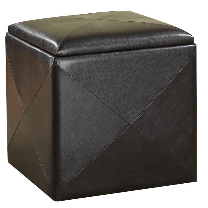 The cube ottoman has grown exponentially in popularity in recent years. The modular shape allows for multiple ottomans to be stacked, arranged, and repurposed with freedom. These appear in cloth and leather variants, and often include hidden storage beneath the lid.
