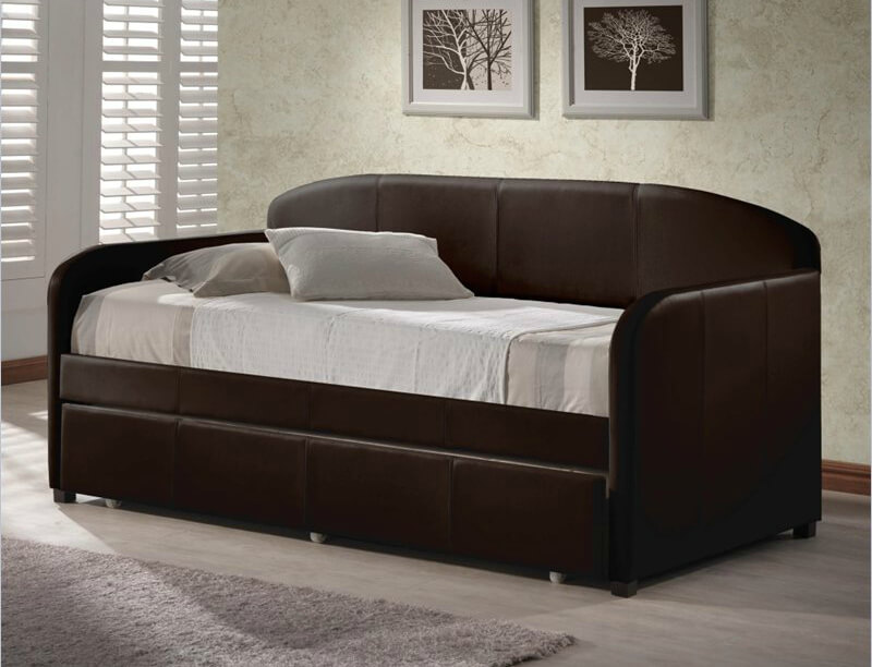 Daybeds are used for sleeping, lounging, reclining, and seating, often in common rooms. Frames can be made out of wood, metal or a combination, while the shape is a cross between chaise lounge, couch, and a bed.