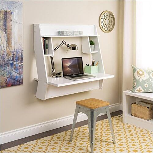 This type of desk is mounted directly onto a wall, completely saving all available floor space. Often mounted with shelving and cubbies, taking advantage of the vertical frame, these desks are incredibly useful for those with limited space. The floating desk is perfect for dorms or bedrooms.