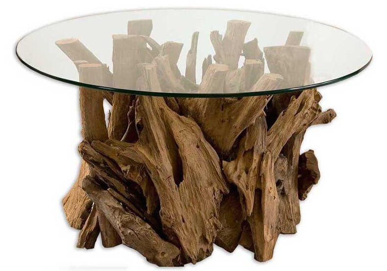 Featured coffee table image with wood base and glass top