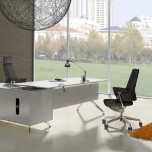 Modern L-shaped white desk