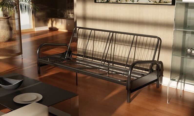 A metal frame futon has the benefit of lighter weight and, thus, more portability than a traditional wood frame. They can be molded into unique shapes that are difficult to attain with wood, and can often convert to a bed and back with more ease. However, they are not often as ornate or beautiful as wood, and can be less sturdy.