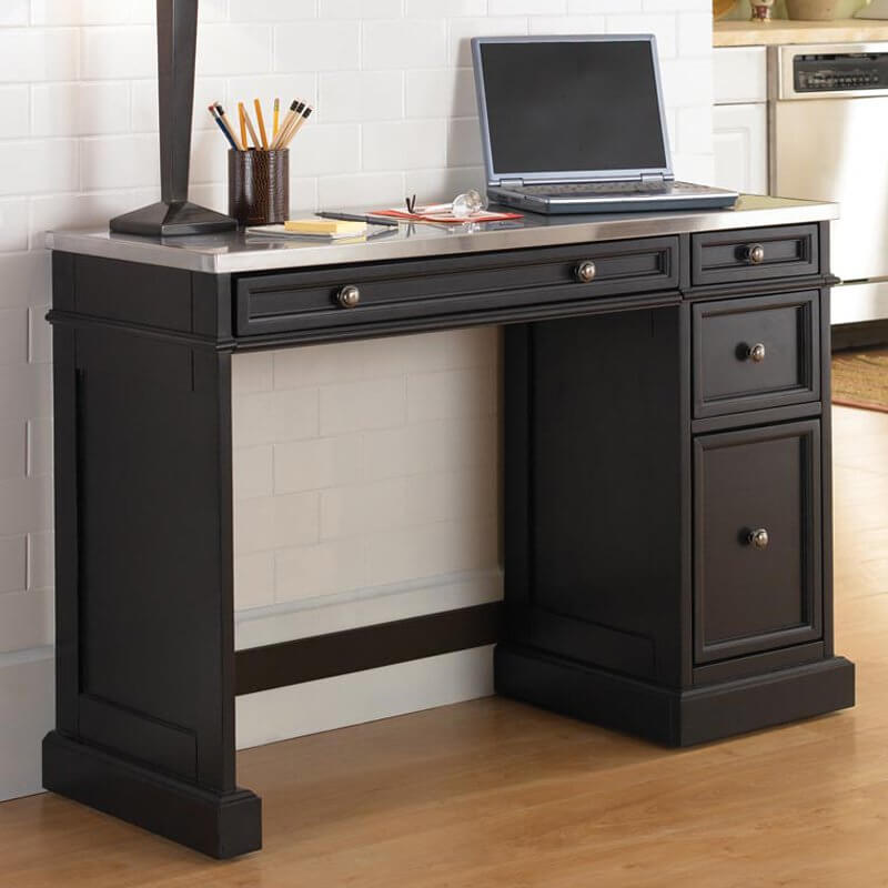 A metal desktop is the ultimate in utilitarian design. Resisting stains and scuffs, and remaining cool to the touch, it's another modern material that's often paired with a modern design desk, like glass. As you can see, metal desktops can be paired for a high contrast look with traditional wood constructed desks.