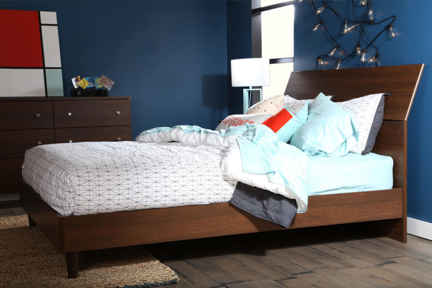 Mid-century style beds bring 1950's and 60's style to the frame, with often streamlined headboards and gently tapered wood legs. It's a refined yet comfortably traditional style.