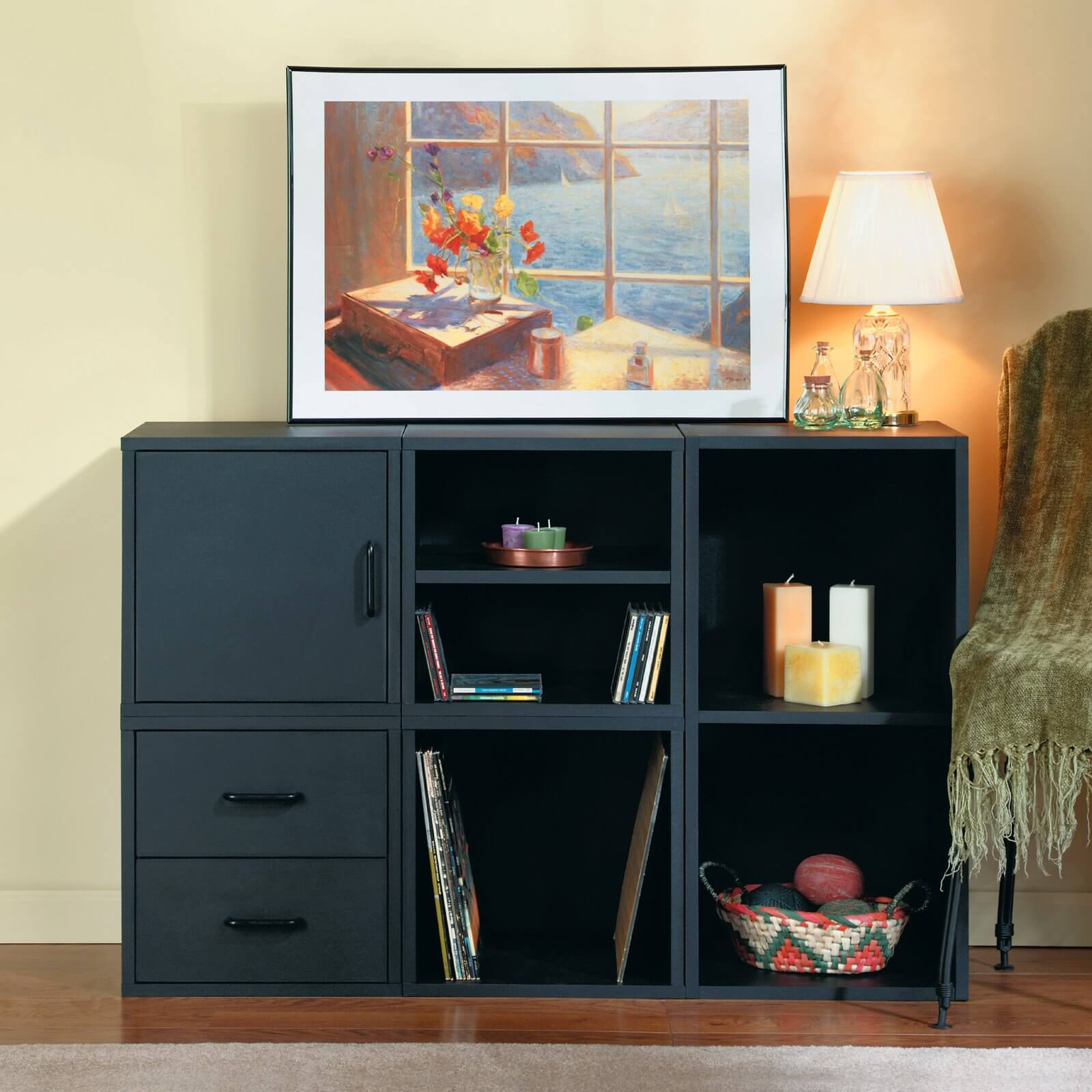 Modular bookcases come in sets of 2, 3, or more. These are designed to interlock or rest against each other in arrays of your own choosing. Often appearing in cube-based configurations, these models are meant to be tailored to your needs, and can be added upon after purchase.
