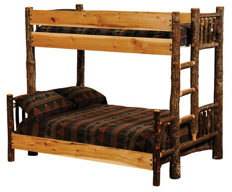 Rustic bunk bed with double below and single on top.