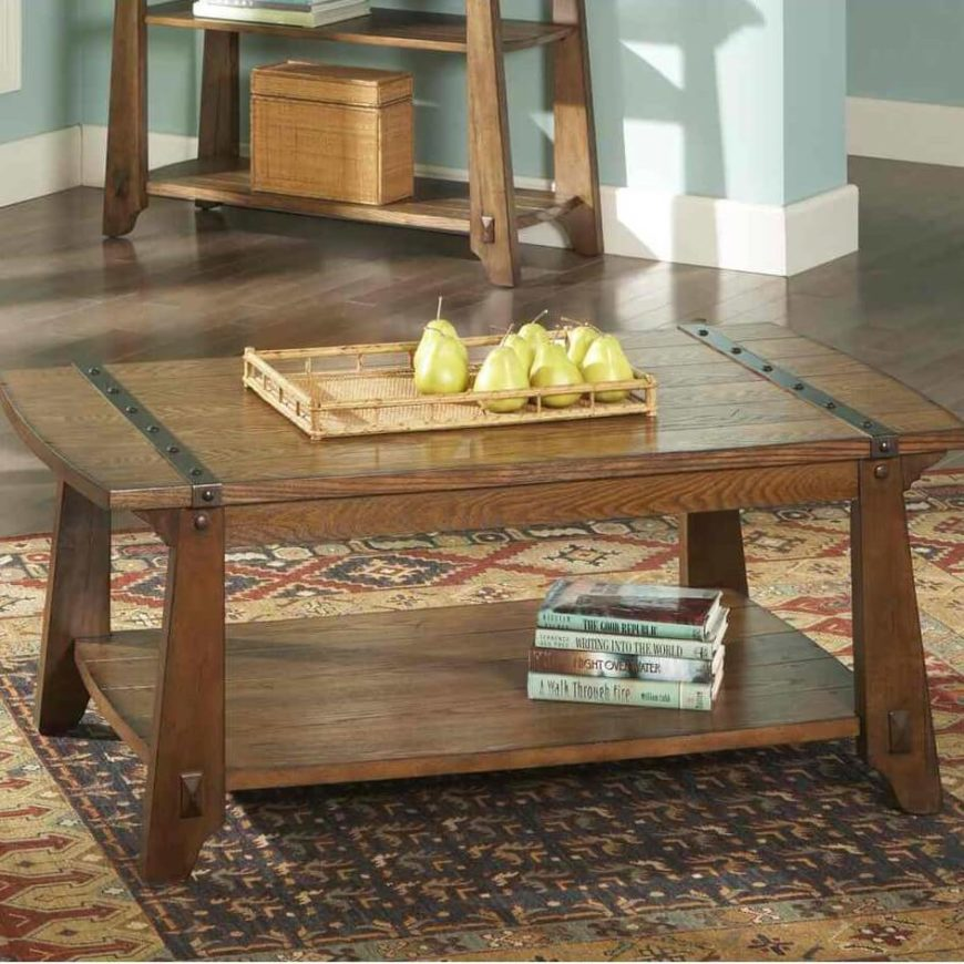 Rustic style evokes the countryside in old fashioned times. The material is almost always wood, carved into simpler patterns than with a traditional or modern coffee table. Some examples have brass fittings, evoking a particularly bygone feel.