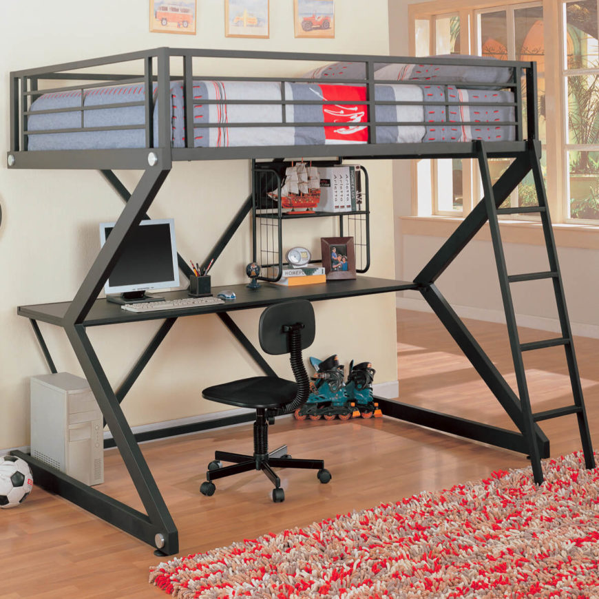 The study design bunk bed utilizes the standard loft platform to place - instead of a lower bed - a desk or work station below the upper level. Some will simply have a shelf, while others will contain a fully equipped built in desk and shelving.