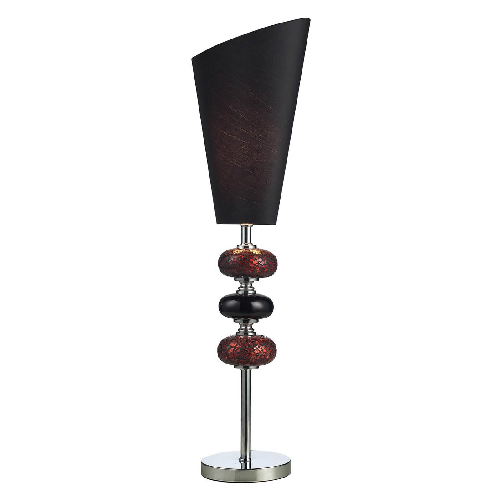 Our first torch lamp features a modern design, with metal body and angular shade.