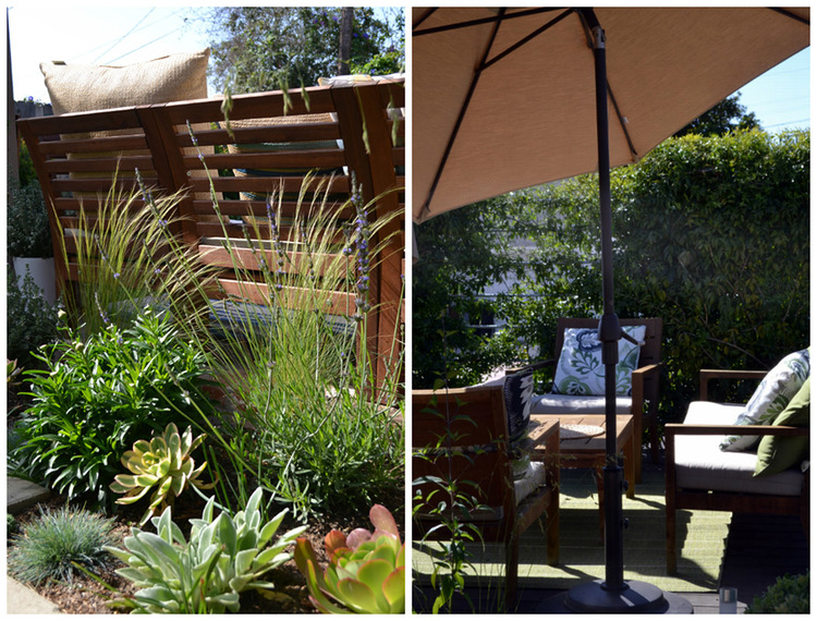 A close up of the various shrubbery and succulents that surround every bench, chair and seating area. On the right is a close up of a seating area and umbrella.