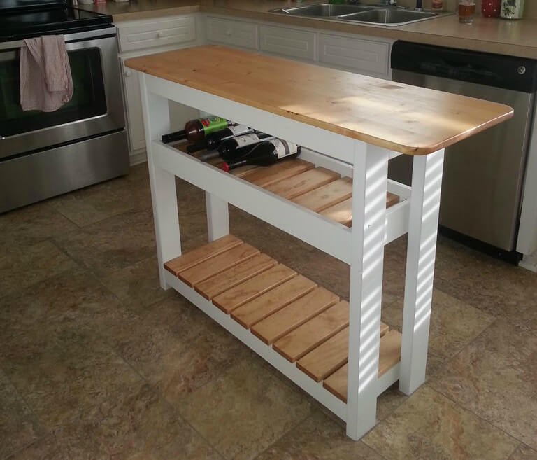 Diy Kitchen Island With Wine Rack Step By Step
