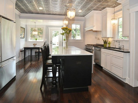 Kitchen with decorative ceiling tiles
