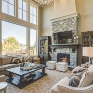 Soaring living room in custom home by Clay Construction