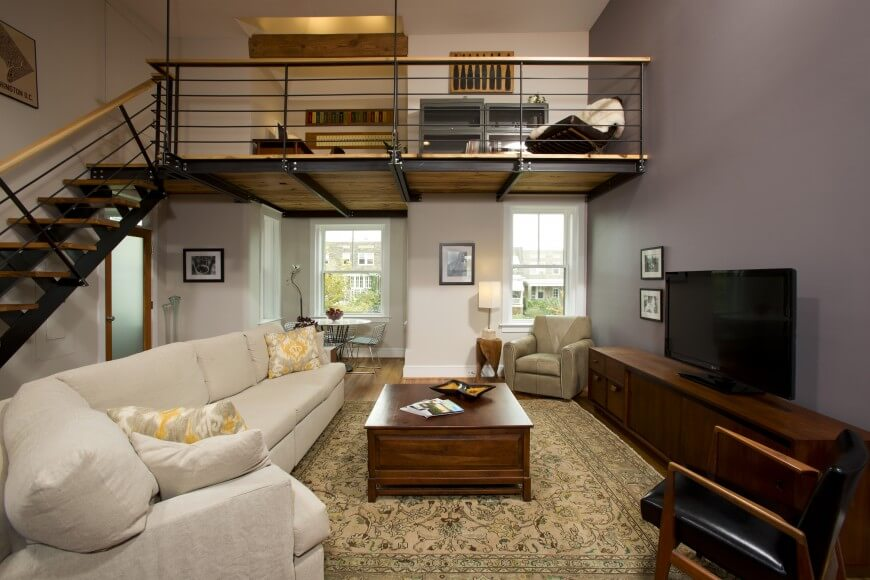 View of loft unit in townhome renovation by Four Brothers LLC