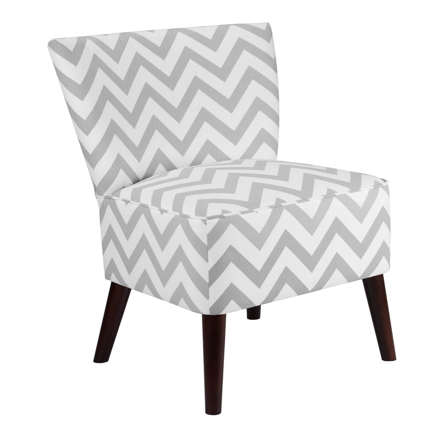 The slipper design features an upholstered seat and back over wooden frame, with a deep cloth covering continuing downward from the seat itself. This specific design is a bright, simple creation with grey zig-zag pattern over dark wood legs.