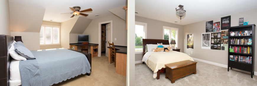 The two smaller bedrooms have a very muted color palette. The left room has two built-in desks near the closet.
