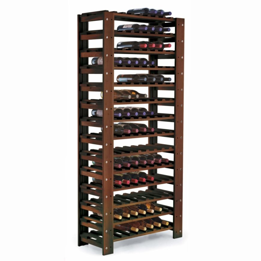 The floor standing wine rack is possibly the most common model you'll find while shopping. These are sturdy, can be placed and replaced as needed, and can usually hold a large amount of bottles.