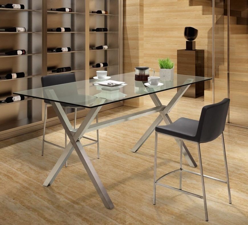 Glass tabletops bring an elegant, airy feeling to any dining room, opening up the visual space and providing a clean, modern surface to interact with. Our featured model stands on a graphite X-shaped frame.