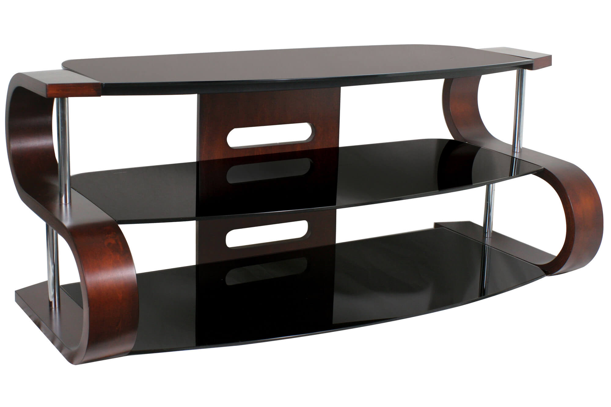 Modern TV stand design with shelves.