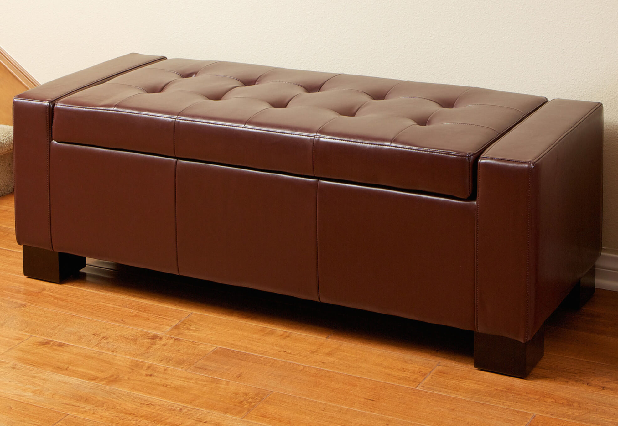 Leather clad storage benches are most often found in entryways, bedrooms, or even living rooms. The soft tones and sensuous material bring luxury and utility in equal measure.