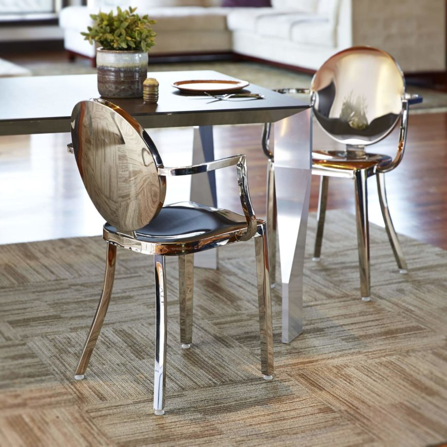 Metal seats most often appear on metal frame chairs with holistic designs. Our example chair, for instances, is entirely crafted from a single material, with the molded seat seamlessly rising from the frame.