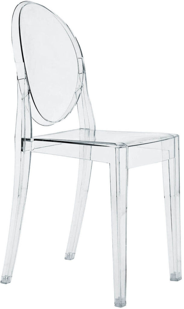 Plastic seating typically only arrives within a plastic frame, when it comes to dining chairs. These models can range from budget options all the way to ornate, crystalline constructions like our pictured example.
